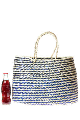 bag shake like a basket of medium dimensions in bicolor braided straw  - 195
