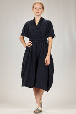 longuette 'box' dress in washed cotton canvas with 'empty and full' square embossing  - 195