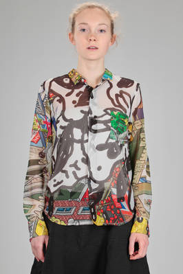 classic man shirt in polyester georgette with multicolor stamp by the artist EbOy  - 48