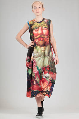 longuette dress in polyester jersey with 'Arcimboldo'  - 48