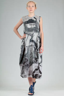 longuette dress in polyester jersey with print of an art work by the Japanese artist Sesson Shukei  - 48