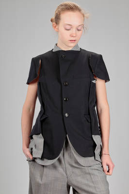 man jacket with parts in wool gabardine and parts in woollen glen plaid - COMME DES GARÇONS