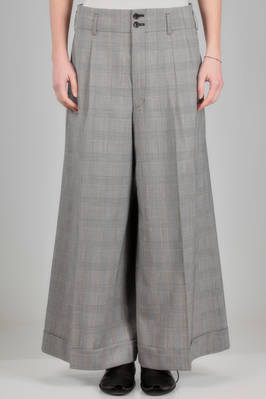 wide trousers in hand soft woollen glen plaid, cupro lined  - 48