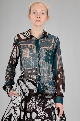 classic man shirt in polyester georgette with multicolor stamp  - 48