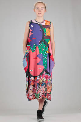 longuette dress in polyester jersey with 'Japanese manga' print by the artist Serge Vollin  - 48