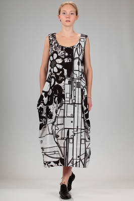 longuette dress in polyester canvas with stylized black flowers and signs print by the artist Stefan Marx  - 48