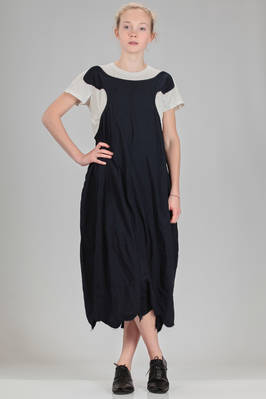 longuette dress in really soft washed polyester canvas with seamed dress in contrasting colour cotton  - 157