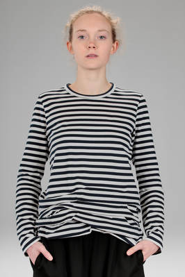 hip length t-shirt in cotton jersey with bicolour horizontal stripes  - 157