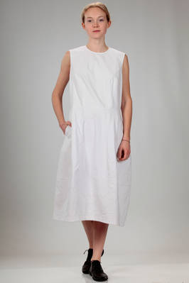 calf length dress in light cotton canvas with tone on tone bottom embroidery  - 157