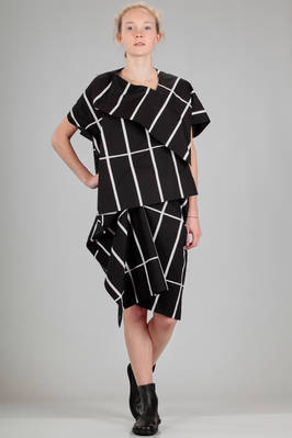 knee length 'sculpture' dress in cotton canvas with rectangle stamp (Tiliskivi) and irregular borders  - 74