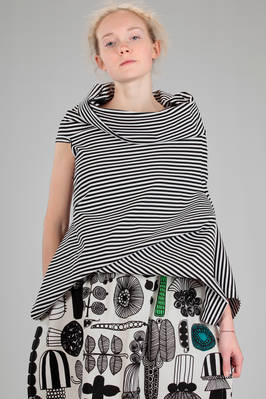 hip length t-shirt in cotton jersey and polyurethane with bicolor horizontal lines  - 74