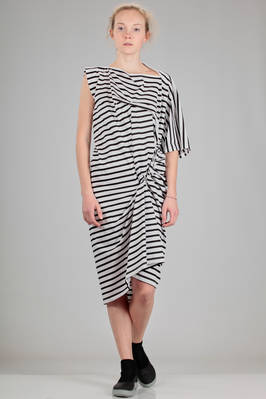 long asymmetrical dress made like a t-shirt in cotton jersey with horizontal narrow stripes  - 74