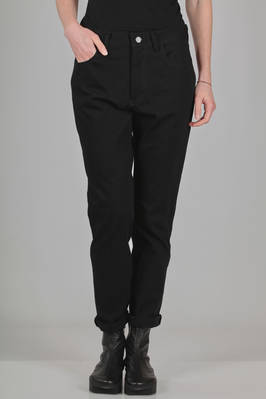 trousers like jeans in twill of washed cotton and stretch cotton, polyamide and polyurethane knit  - 97