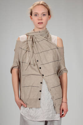 hip length cardigan in linen knit with narrow horizontal and staggered straps  - 97
