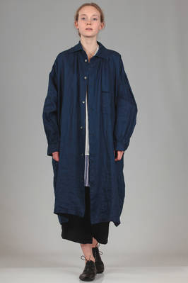 long overcoat shirt alike in linen canvas with indigo jeans effect  - 97
