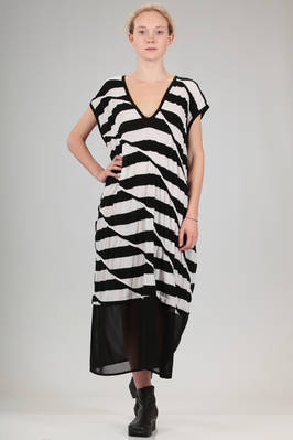 long dress in cotton jersey with staggered stripes with zebra stripes effect and bottom in polyester and triacetate tulle  - 97