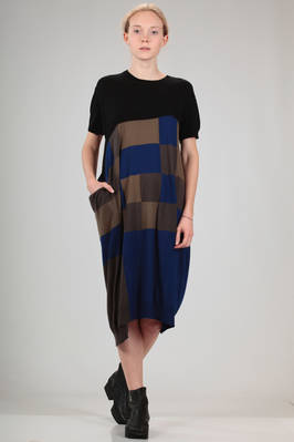 knee length dress in stockinette stitch of cotton and viscose in solid colour and inlaid squares  - 97
