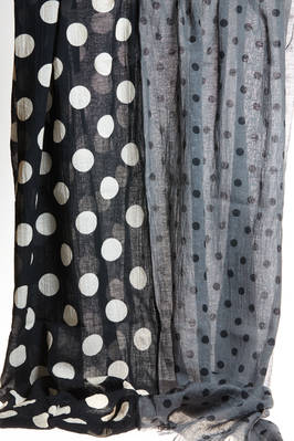 wide scarf in cotton and linen canvas with polka dots of different colors and dimension  - 97