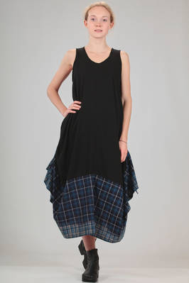 longuette dress in solid colour viscose jersey with the bottom in degrade tartan of cotton and linen  - 73