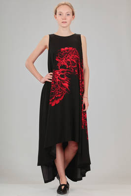 wide dress in light viscose canvas and parts in cotton with printed artwork of Japanese tattoo artist  - 73