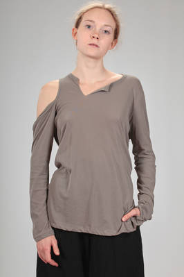 soft and asymmetrical t-shirt in stretch jersey cotton  - 73