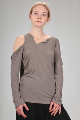 soft and asymmetrical t-shirt in stretch jersey cotton - YOHJI YAMAMOTO