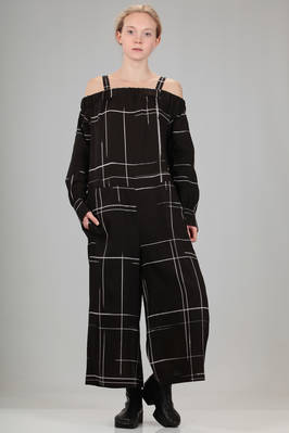 wide trousers dungaree in viscose canvas with printed irregular big check  - 97
