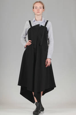 dungaree dress in cotton denim and lateral panel in tencel canvas  - 97