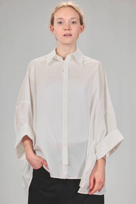 wide hip length shirt in light and washed cotton poplin  - 97