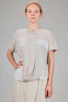 hip length t-shirt in cotton jersey with square patchwork of different colours  - 97