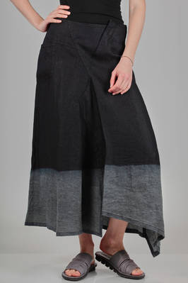long and asymmetrical skirt in soft hand denim linen with delavé pattern at the bottom  - 97