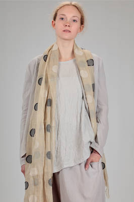 wide scarf in linen and wool gauze with inlaid polka dots  - 97