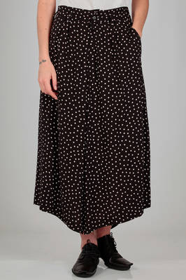 long and wide skirt in really light rayon canvas with polka dots  - 340