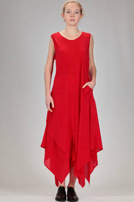 long and flared dress in silk crêpe de chine  - 340