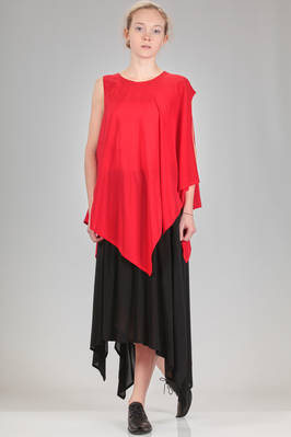 long and asymmetrical top in silk crêpe de chine  - 340