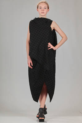knee length dress in polyester cloth with medium squares on a base of cotton jersey and lyocell  - 47