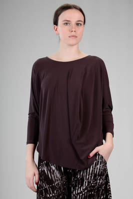hip length t-shirt in stretch jersey of triacetate, polyester and polyurethane  - 47