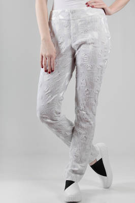 tight trousers in stretch nylon, polyester and polyurethane canvas with geometrical textures  - 47