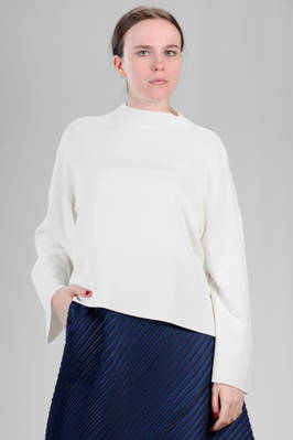 hip length sweater in rayon and nylon knitting, hand 'A-poc'  - 111