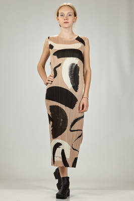 longuette dress in polyester plissé with vertical narrow pleats and brushstrokes print  - 111