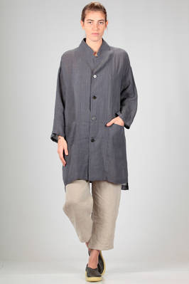 long jacket in slightly wrinkled linen with a two-tone vertical line  - 327