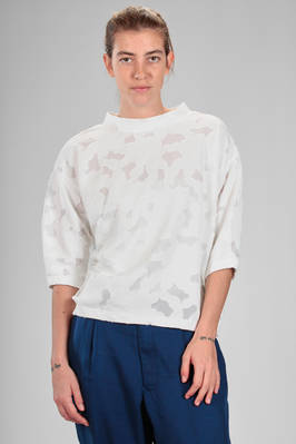 sweatshirt alike sweater in cotton gauze with parts in devoré on tone on tone polyester net  - 121