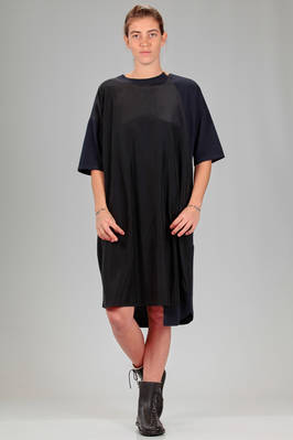 calf length dress with parts in cotton jersey and parts in tone on tone rayon and cupro canvas  - 121