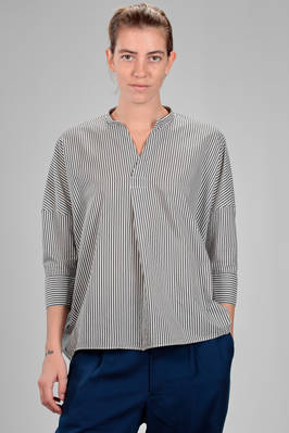 long and wide shirt in cotton and cupro canvas with vertical bicolour lines  - 121