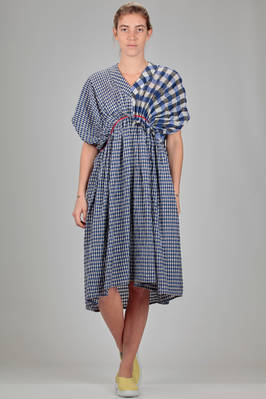 longuette dress in cupro and cotton with vichy patchwork of different sizes  - 121