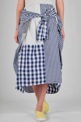 longuette skirt in cupro, cotton and cotton jersey with vichy patchwork of different sizes  - 121