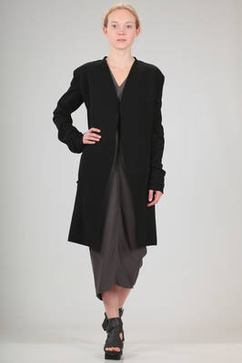 long jacket in fabric alike knit of cotton with different processing  - 120