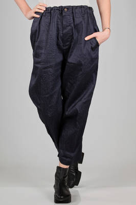 wide trousers in washed canvas of cotton and ramié with very thin horizontal stripes  - 161