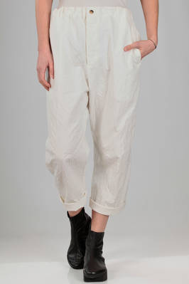 wide trousers in double washed cotton and silk canvas with seersucker effect  - 161