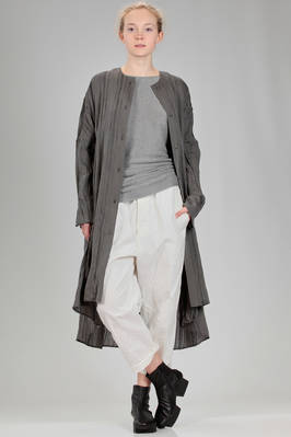 knee length robe-manteau in really light canvas of viscose, silk and polyester with ribs - FORME D' EXPRESSION